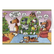 Funny dogs water tree humorous Christmas card